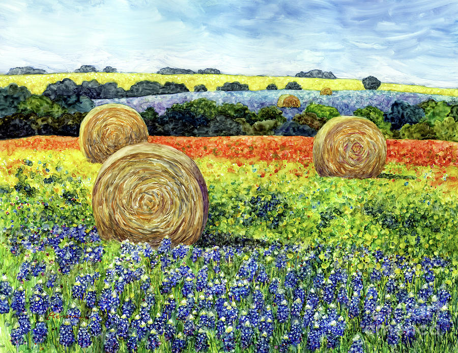 Hay Bales And Wildflowers Painting