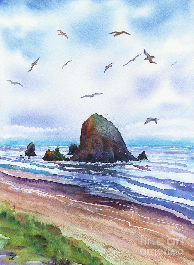 Haystack Rock, Cannon Beach, Oregon Coast Painting
