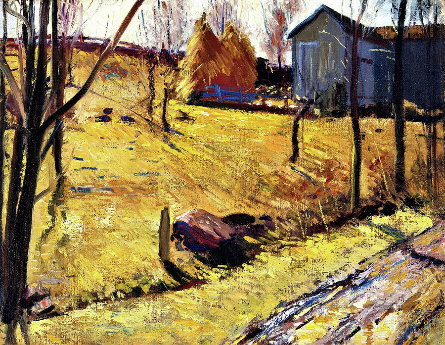 George Wesley Bellows Painting - Haystacks And Barn - Digital Remastered Edition by George Wesley Bellows