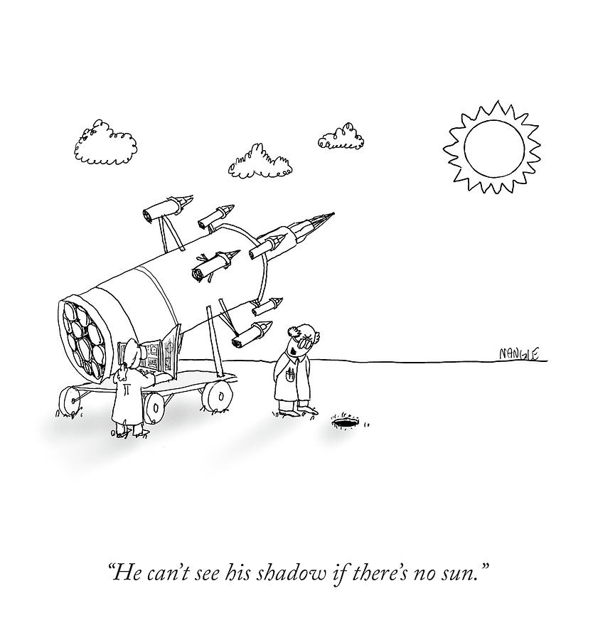 He Cant See His Shadow Drawing by Jared Nangle