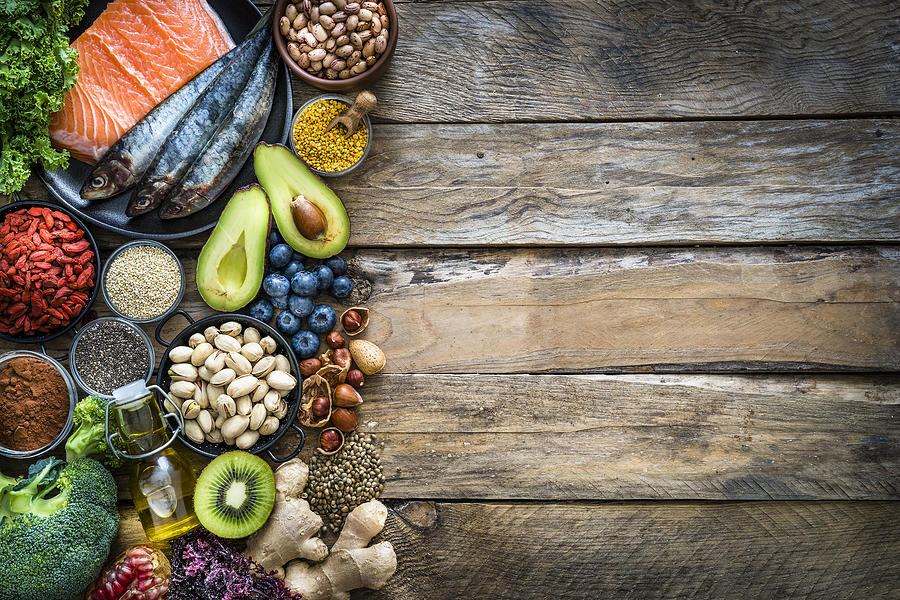 Healthy eating: selection of antioxidant group of food frame. Copy space Photograph by Fcafotodigital