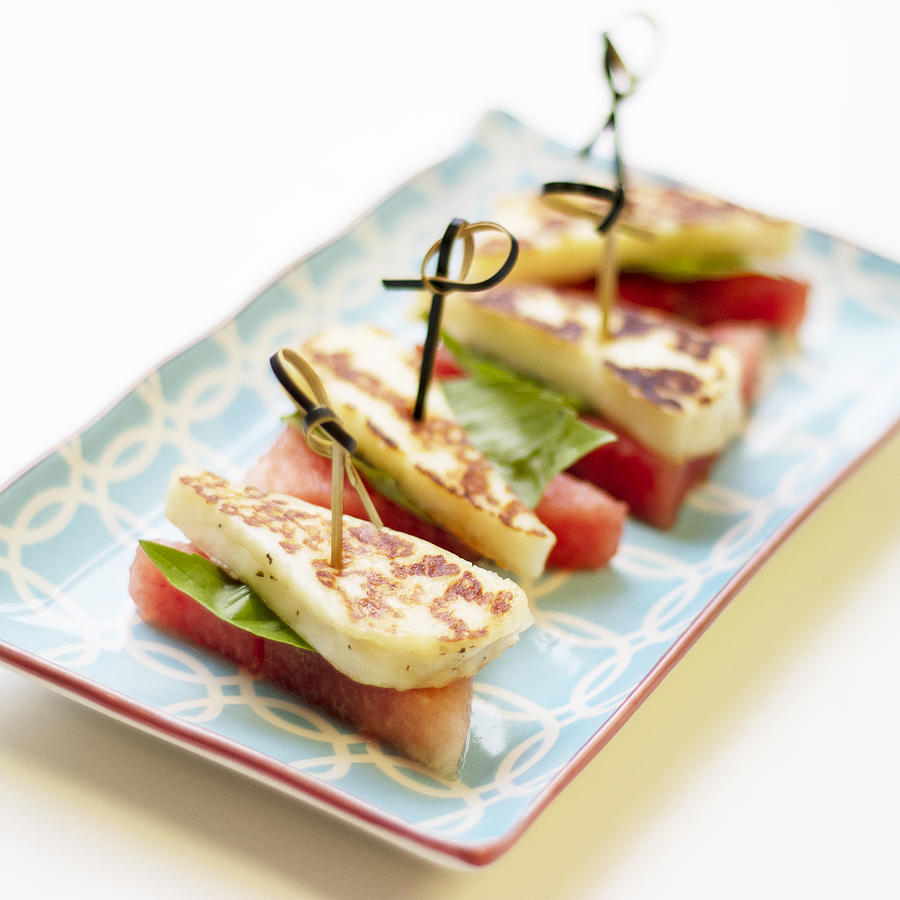 Healthy Eating - Watermelon With Halloumi Cheese Photograph by Gregoria Gregoriou Crowe fine art and creative photography.