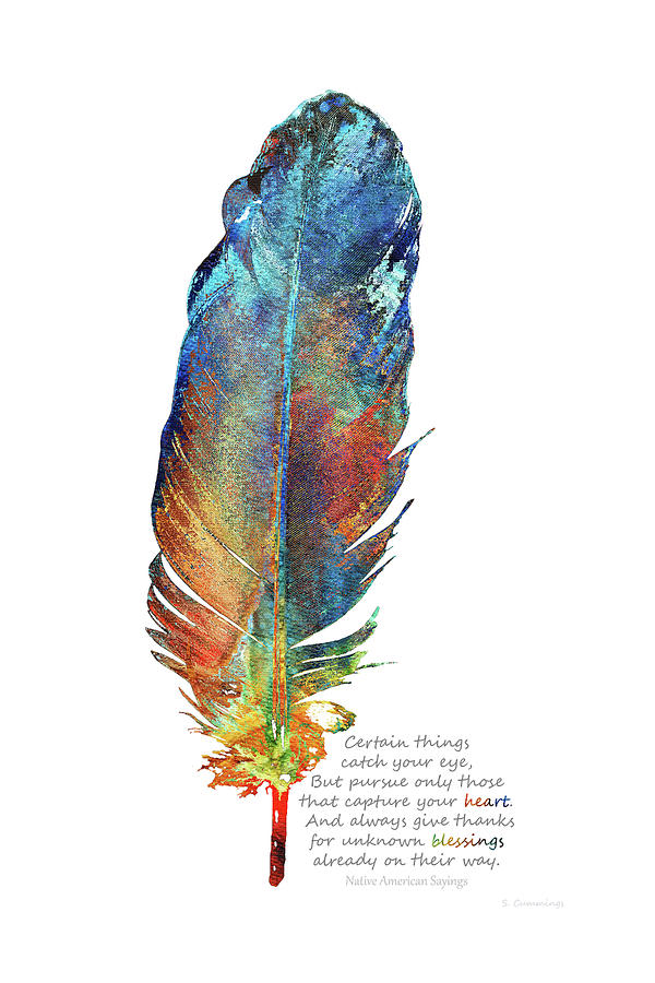 Feather Painting - Heart Blessings - Native American Colorful Feather Art - Sharon Cummings by Sharon Cummings