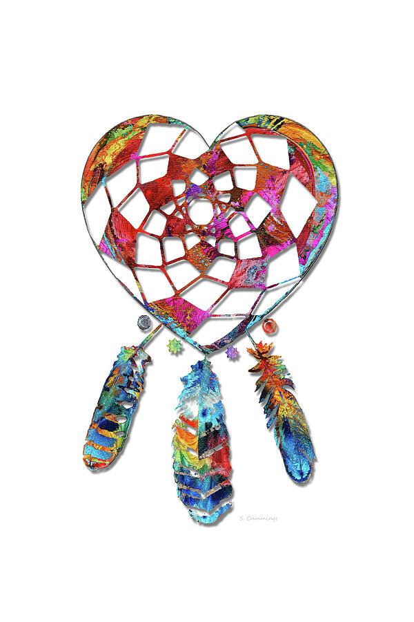 Love Painting - Heart Dream Catcher Art - Sharon Cummings by Sharon Cummings