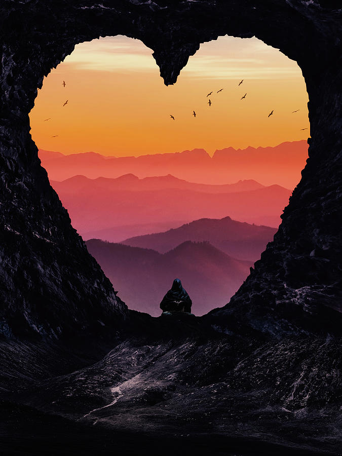 Heart Gate And Mountains Sunset Digital Art
