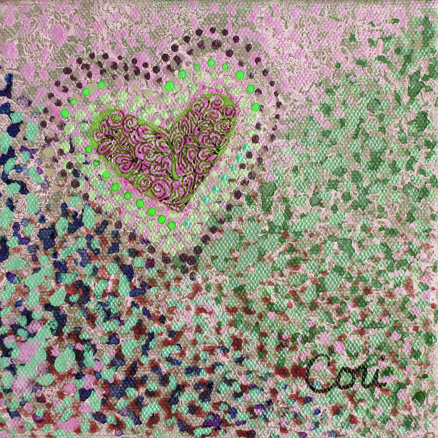 Heart in Pink and Green by Corinne Carroll