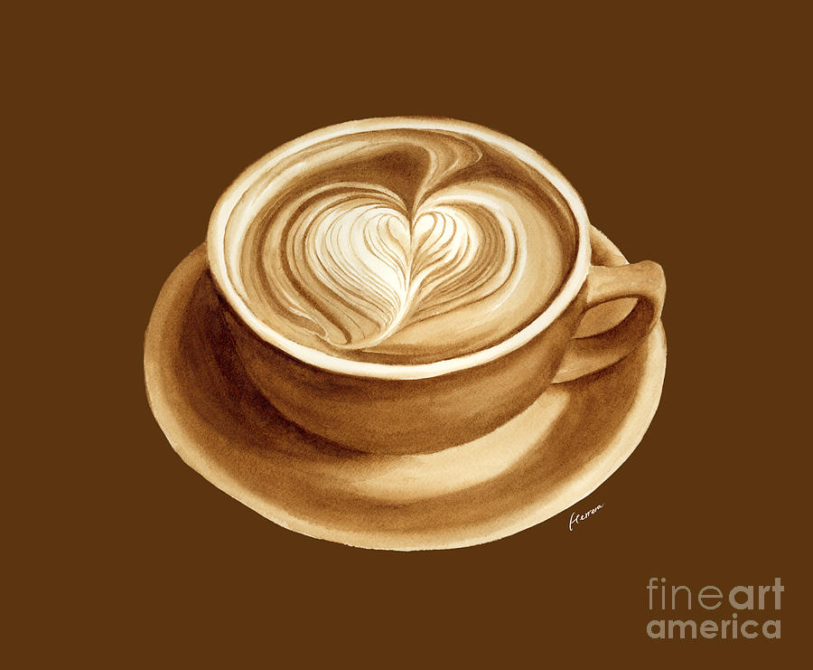 Heart Latte II - Solid Background Painting