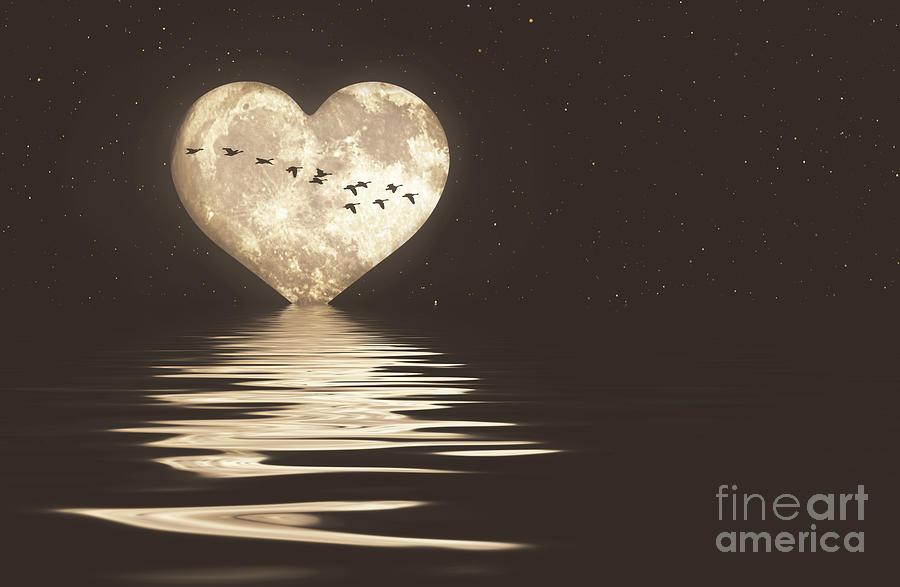 MOON HEART SHAPED BLACK SKY MODERN CANVAS PRINT WALL ART PICTURE PHOTO