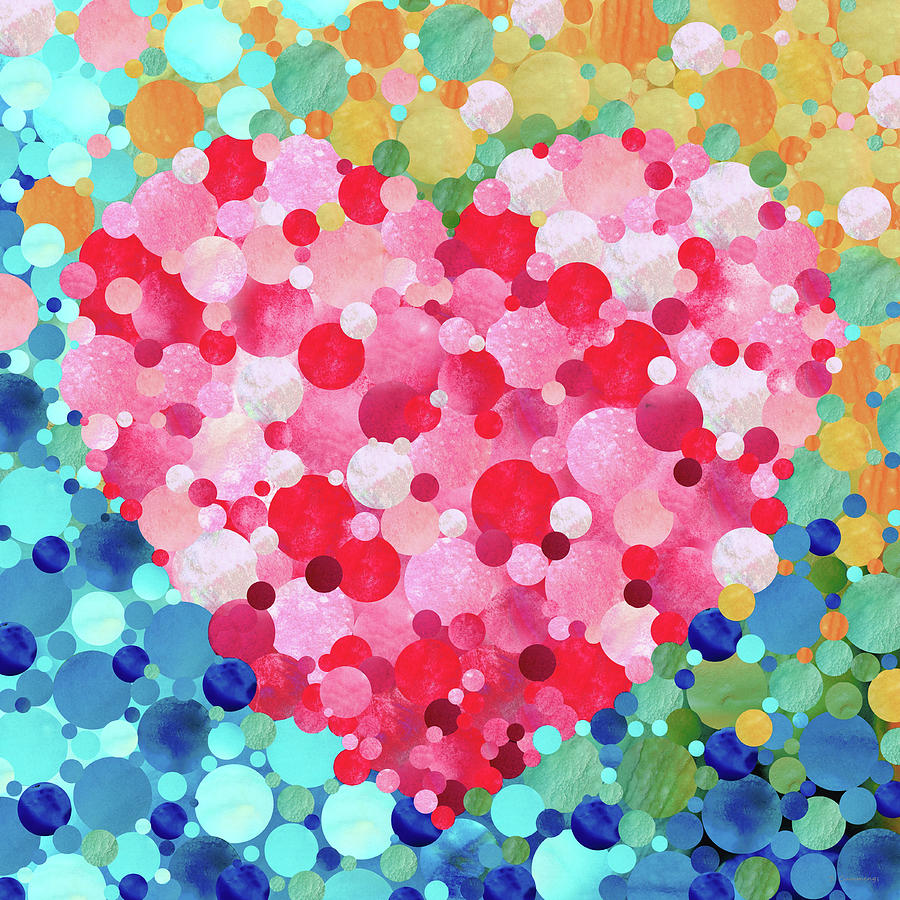 Heart Painting - Heart Song - Colorful Mosaic Love Art by Sharon Cummings