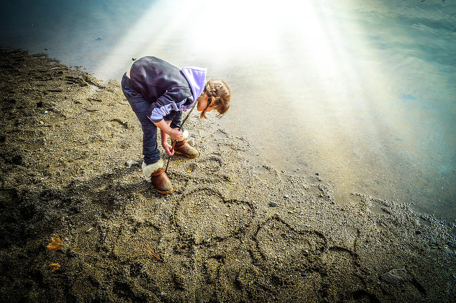 Child Photograph - Hearts in the Sand by Cindy Nunn