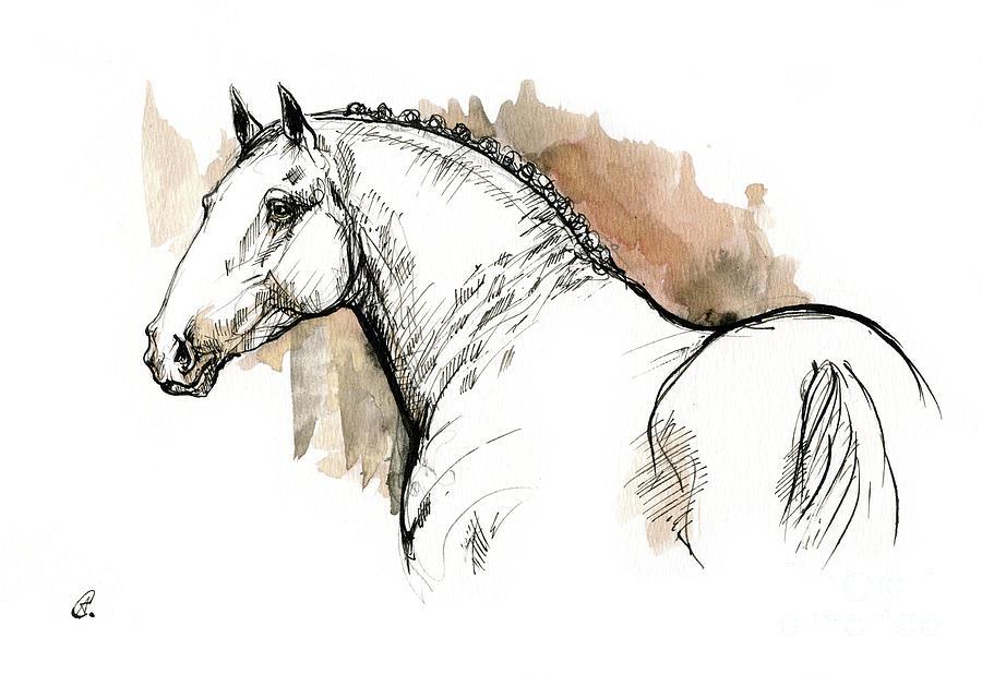 Heavy horse ink sketch 2019 12 01 by Angel Ciesniarska