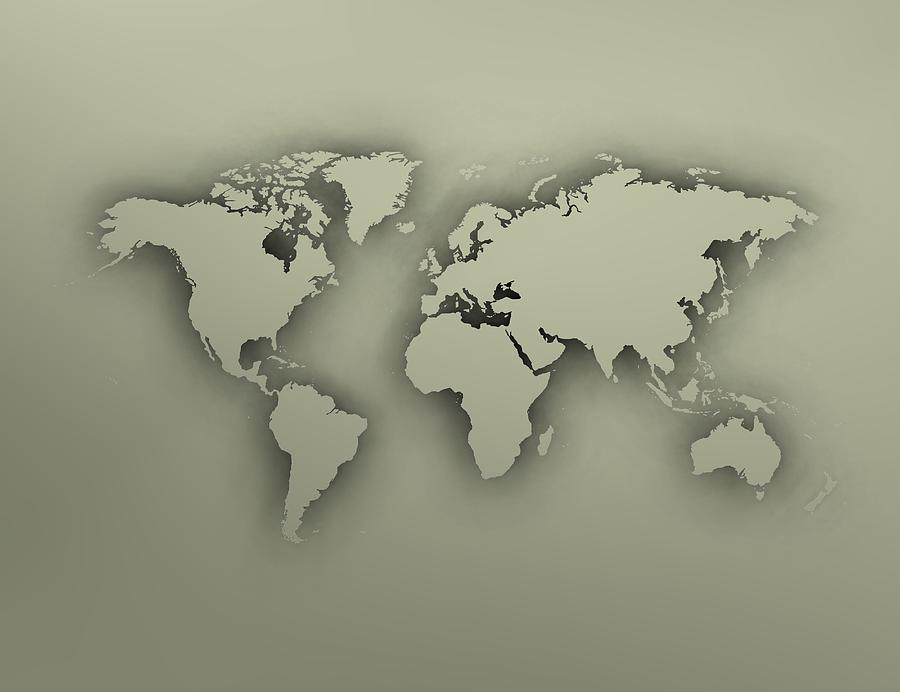 Worldmap Digital Art - Heavy World Map by Alberto RuiZ