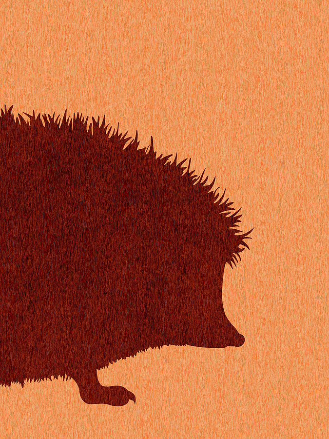 Hedgehog Silhouette - Scandinavian Nursery Decor - Animal Friends - For Kids Room - Minimal Mixed Media