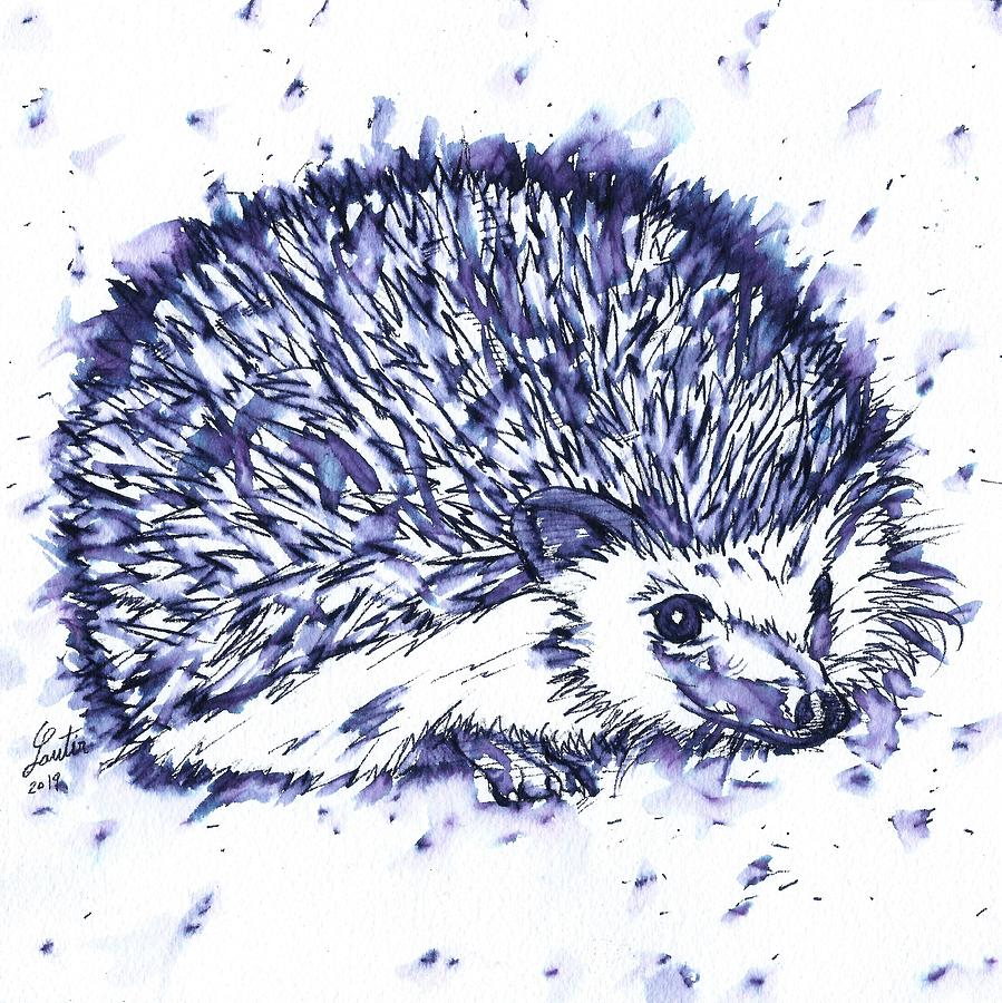 HEDGEHOG - watercolor and ink portrait.1 by Fabrizio Cassetta
