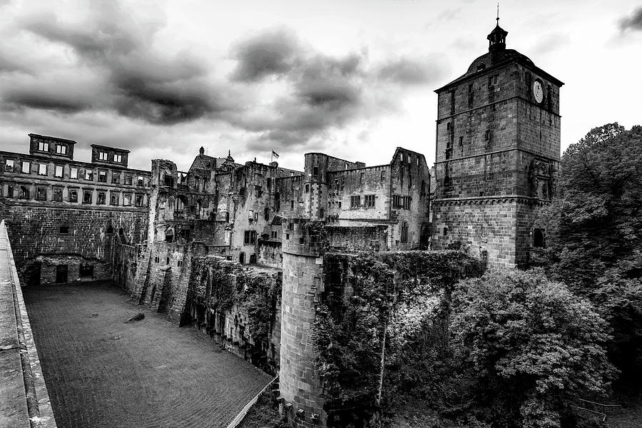 Heidelberg Castle Black And White 2 Photograph