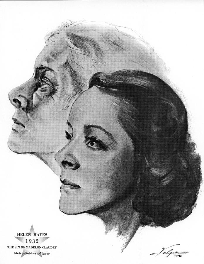 Helen Hayes By Volpe Drawing