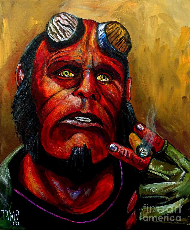 Hellboy Painting - Hellboy by Jose Mendez