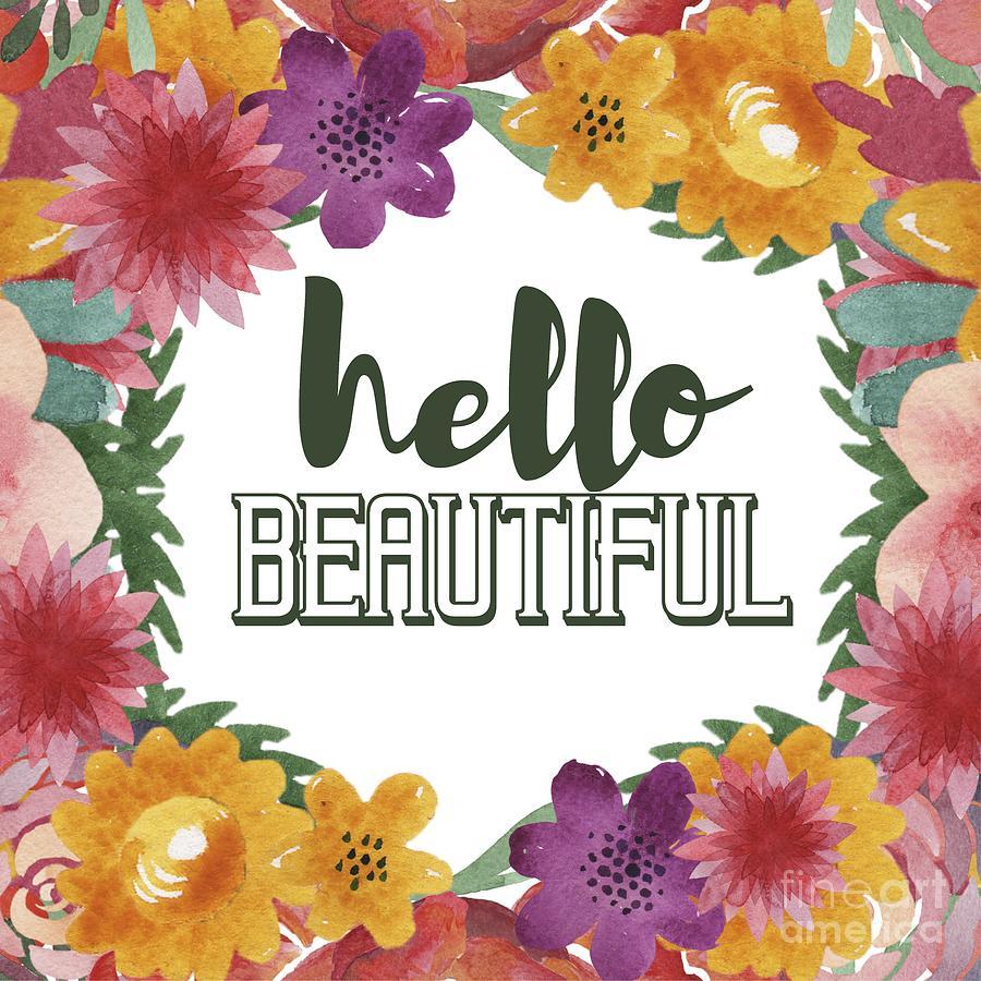 Hello Beautiful Typography Digital Art