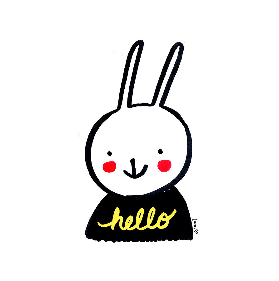 Hello Drawing - Hello Bunny by Ashley Lucas