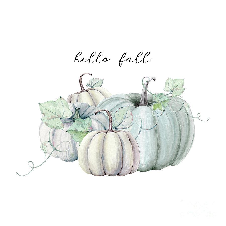Hello Fall Blue Pumpkin Digital Art