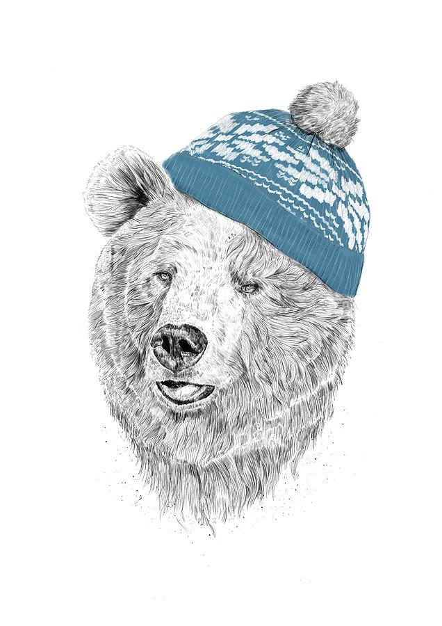 Bear Drawing - Hello Winter by Balazs Solti
