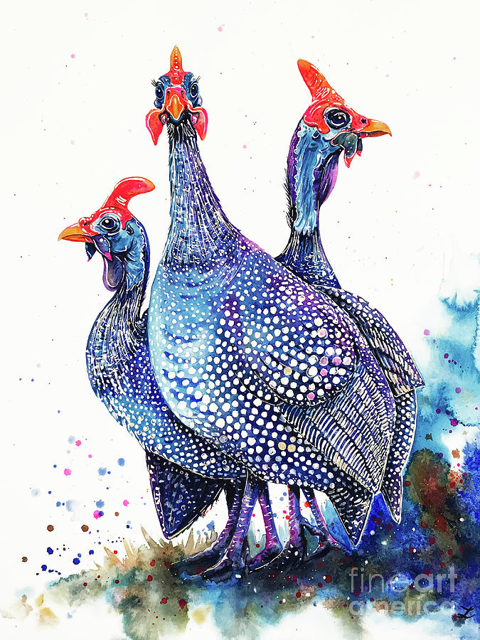 Helmeted Guinea Fowls Painting