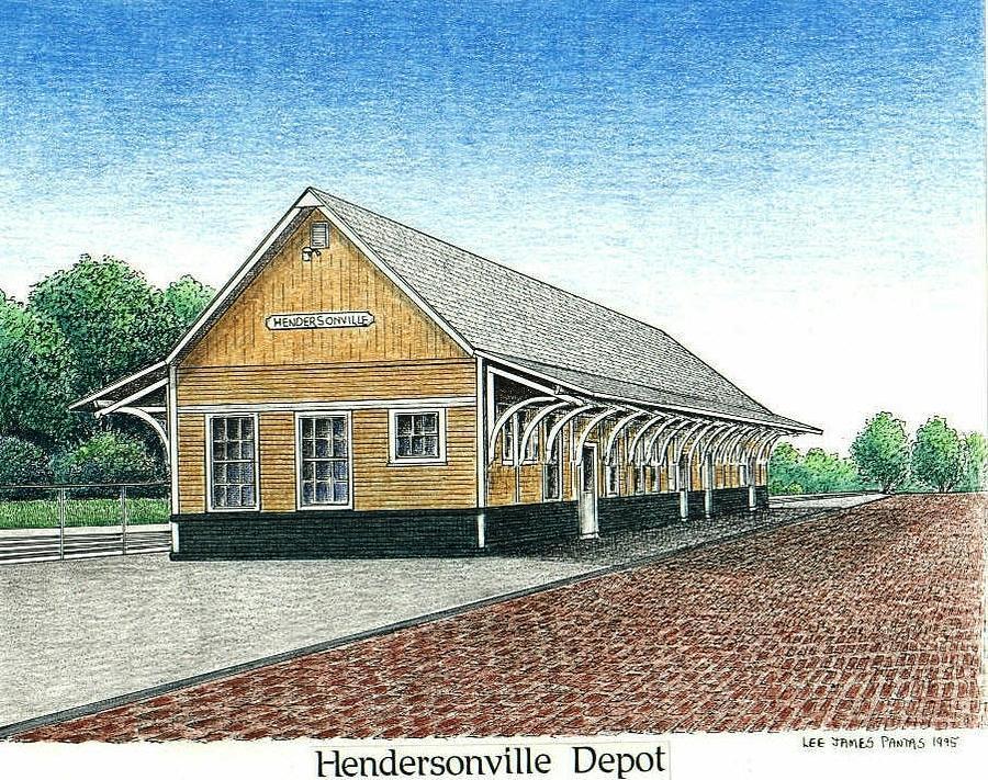 Depot Drawing - Hendersonville Depot by Lee Pantas