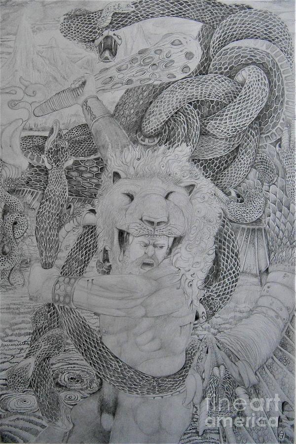 Heracles Slays The Hydra by Balkishan Jhumat