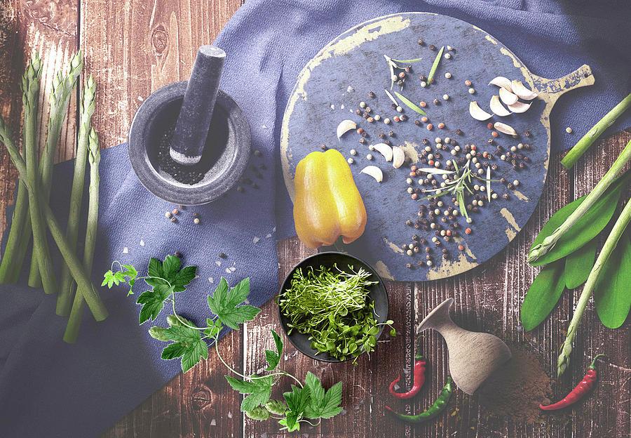 Herbs Spices Vegetable On Wood by Johanna Hurmerinta