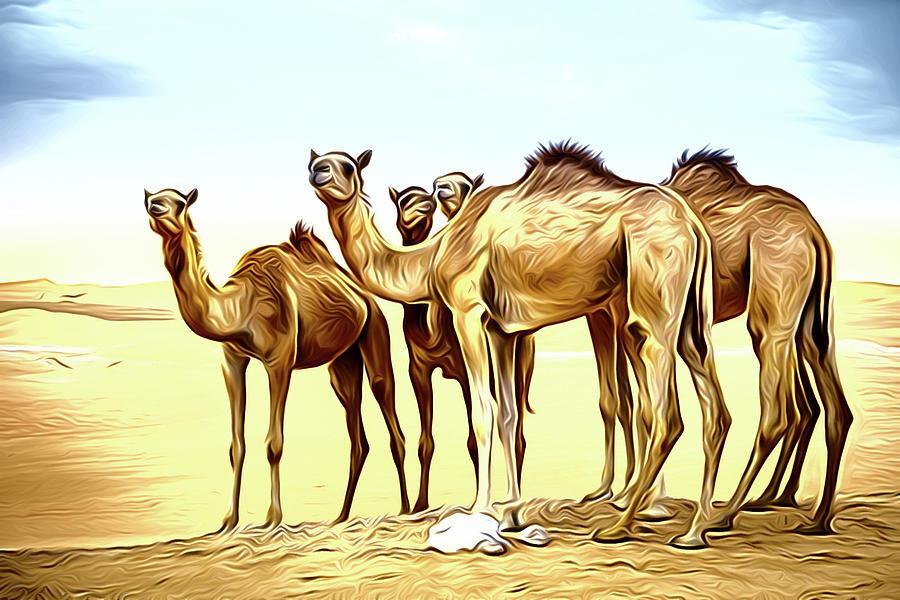 Herd Of Camels In The Desert Digital Art