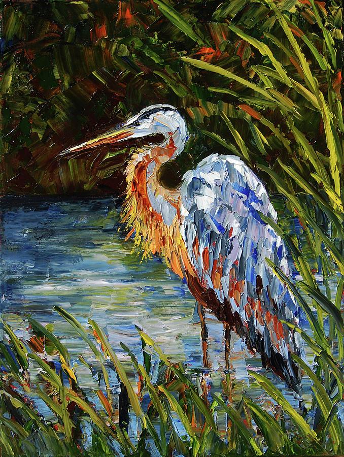 Heron Painting - Heron in Hiding by Kathleen Schumacher