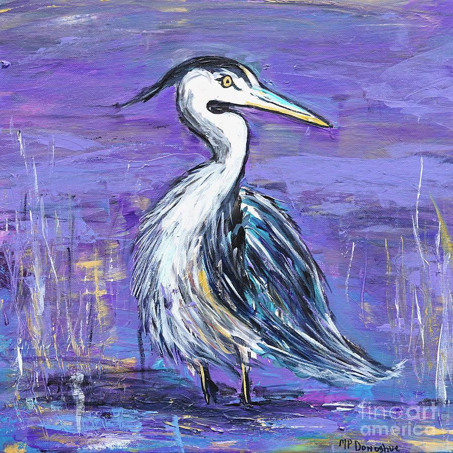 Heron On Purple Painting