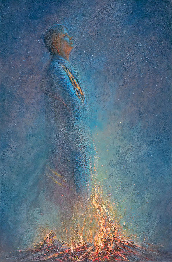 Campfire Painting - Hey God its Me Again by Mia DeLode