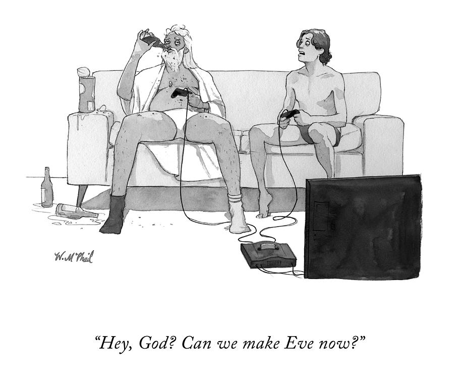 Hey, God? Drawing by Will McPhail