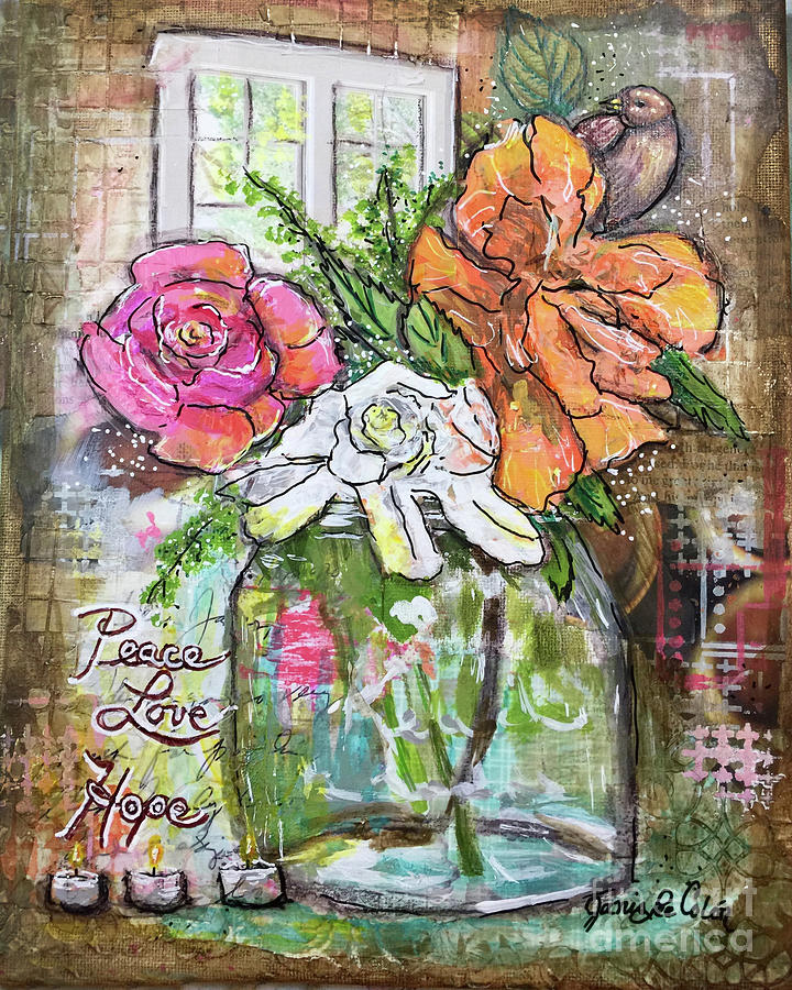 Peace Mixed Media - Hibiscus Rose Gardenia by Janis Lee Colon