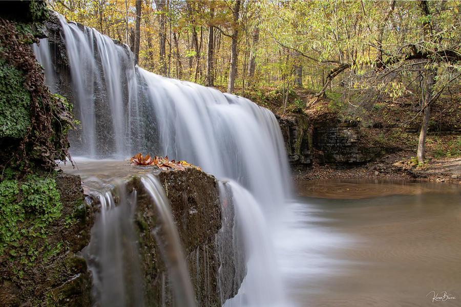 Hidden Falls with Leaves Signed by Karen Biwersi