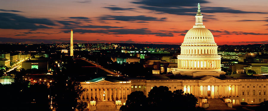 High angle view of a city lit up at dusk, Washington DC, USA Photograph by Panoramic Images