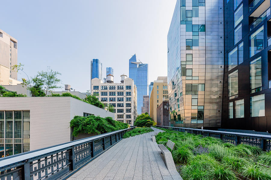 High Line Park and skyscrapers of Hudson Yards, New York City, USA Photograph by Alexander Spatari