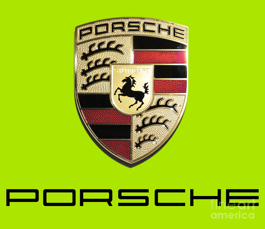 Porsche Logo Photograph - High Res Quality Porsche Emblem - Logo Isolated on Colorful Background by Stefano Senise Fine Art