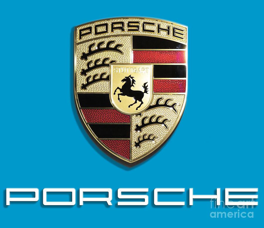 Porsche Logo Digital Art - High Res Quality Porsche Logo - Hood Emblem Isolated on Colorful Background by Stefano Senise Fine Art