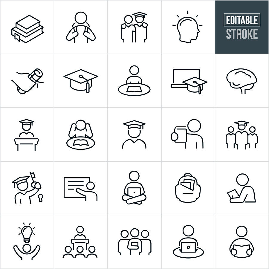 Higher Education Thin Line Icons - Editable Stroke Drawing by Appleuzr