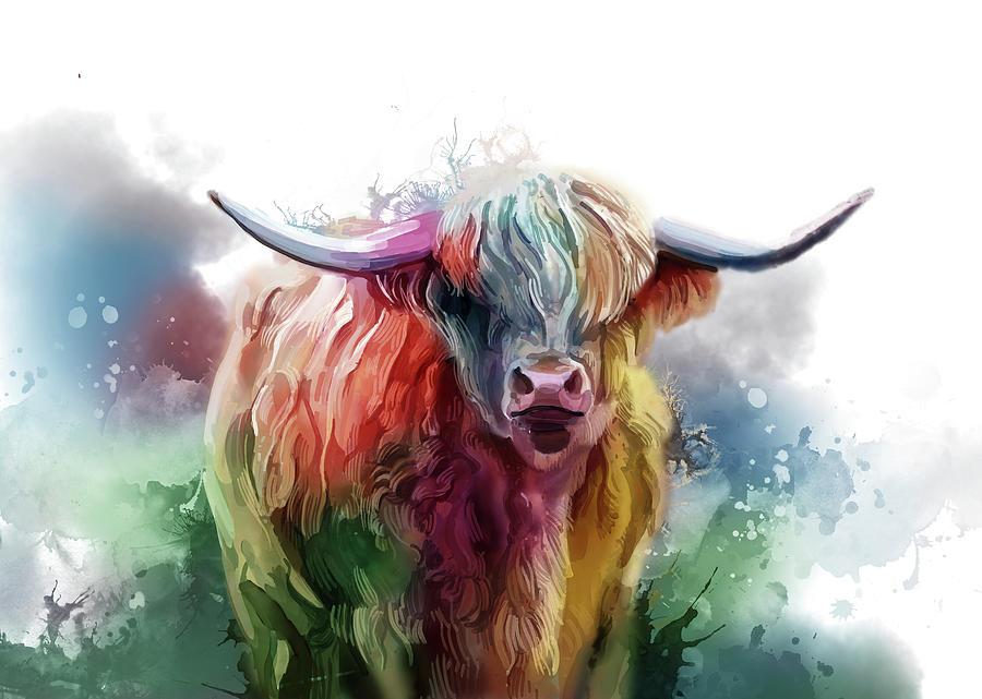 Highland Cattle Colorful V3 Digital Art