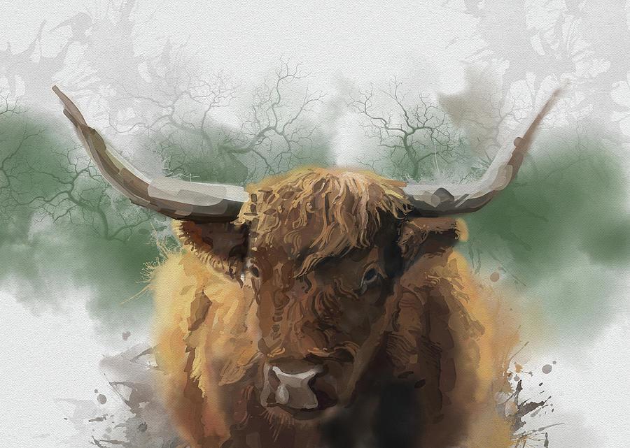 Highland Cattle Portrait Digital Art