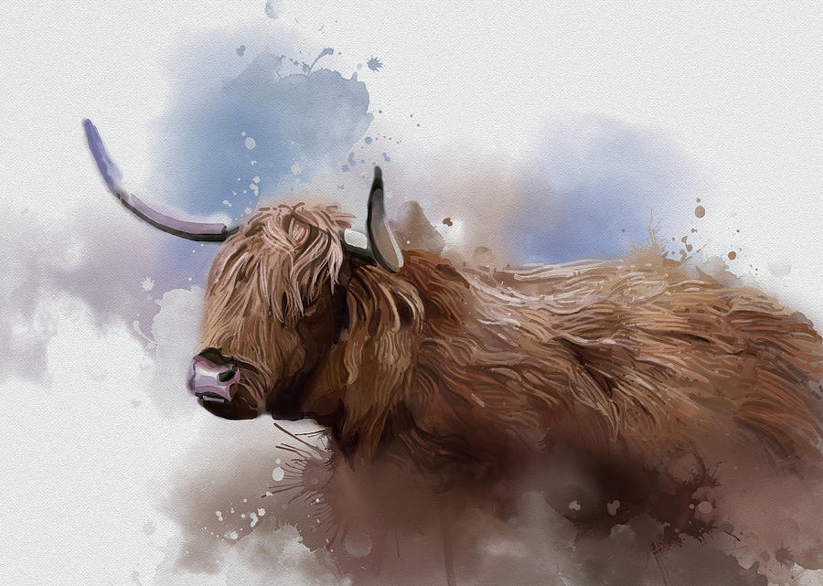 Highland Cattle Vintage Digital Art