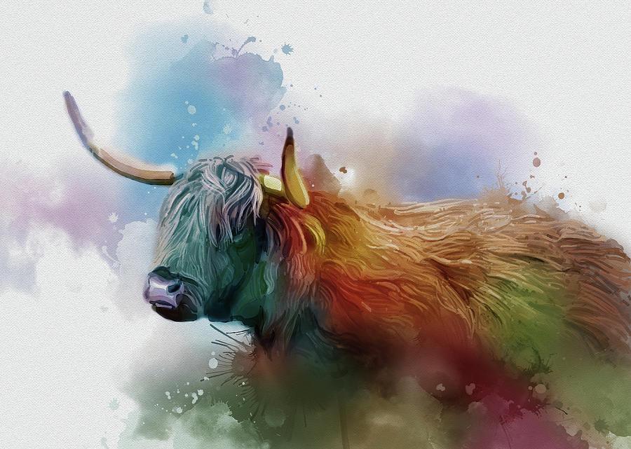 Highland Cattle Vintage V2 Digital Art