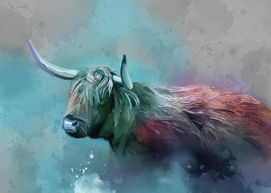 Highland Cattle Vintage V3 Digital Art
