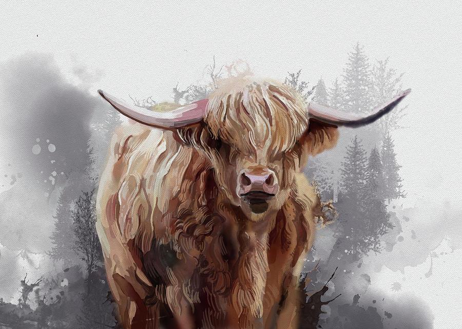 Highland Cattle Watercolor Digital Art
