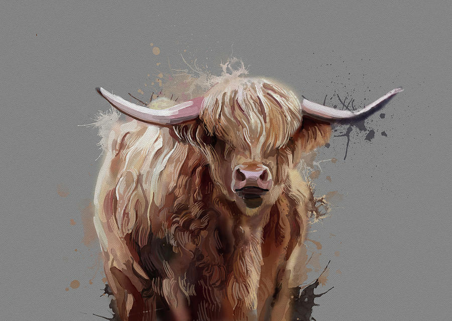 Highland Cattle Watercolor V2 Digital Art