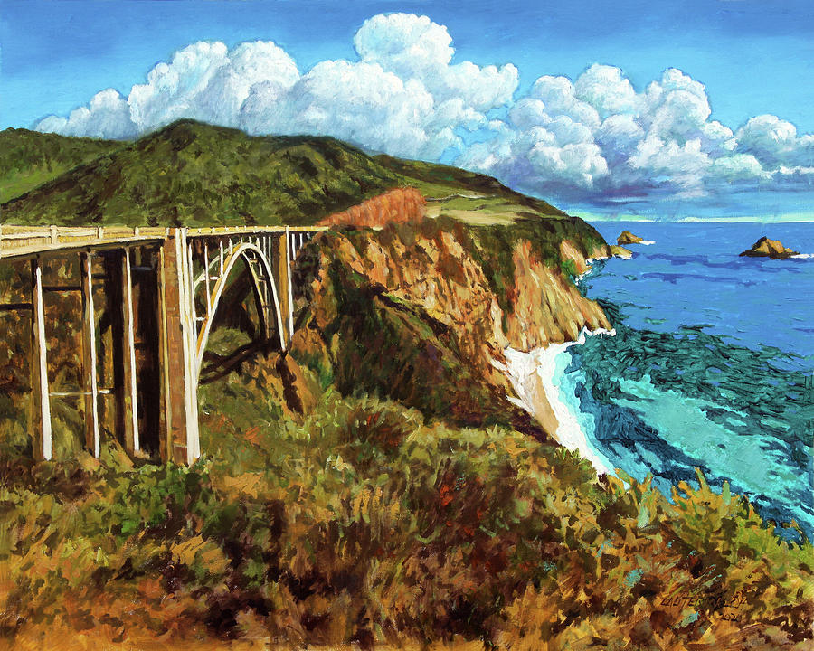 Highway One Painting - Highway 1 Bridge by John Lautermilch