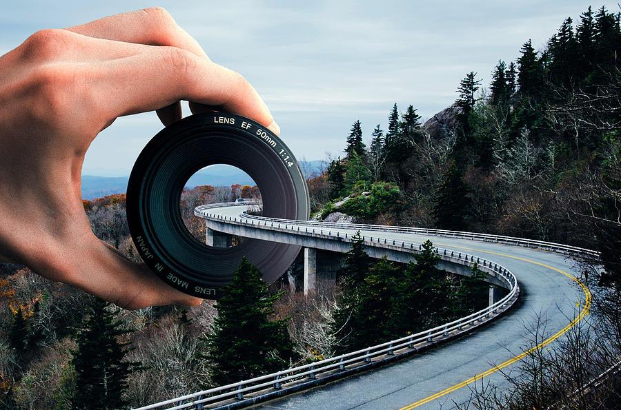 Highway Bridge And Lens Camera Surreal Digital Art
